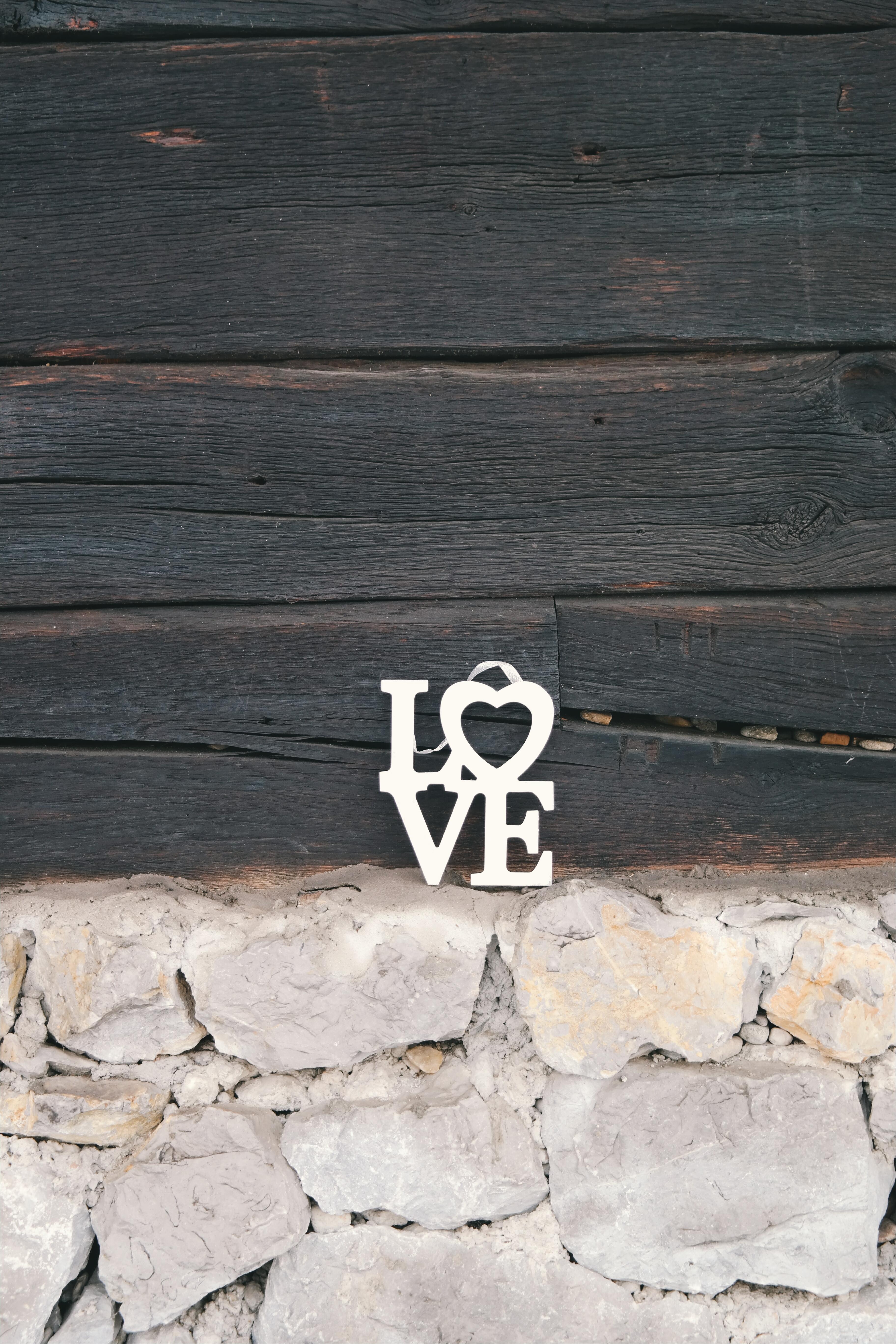White Love Wooden Decor
