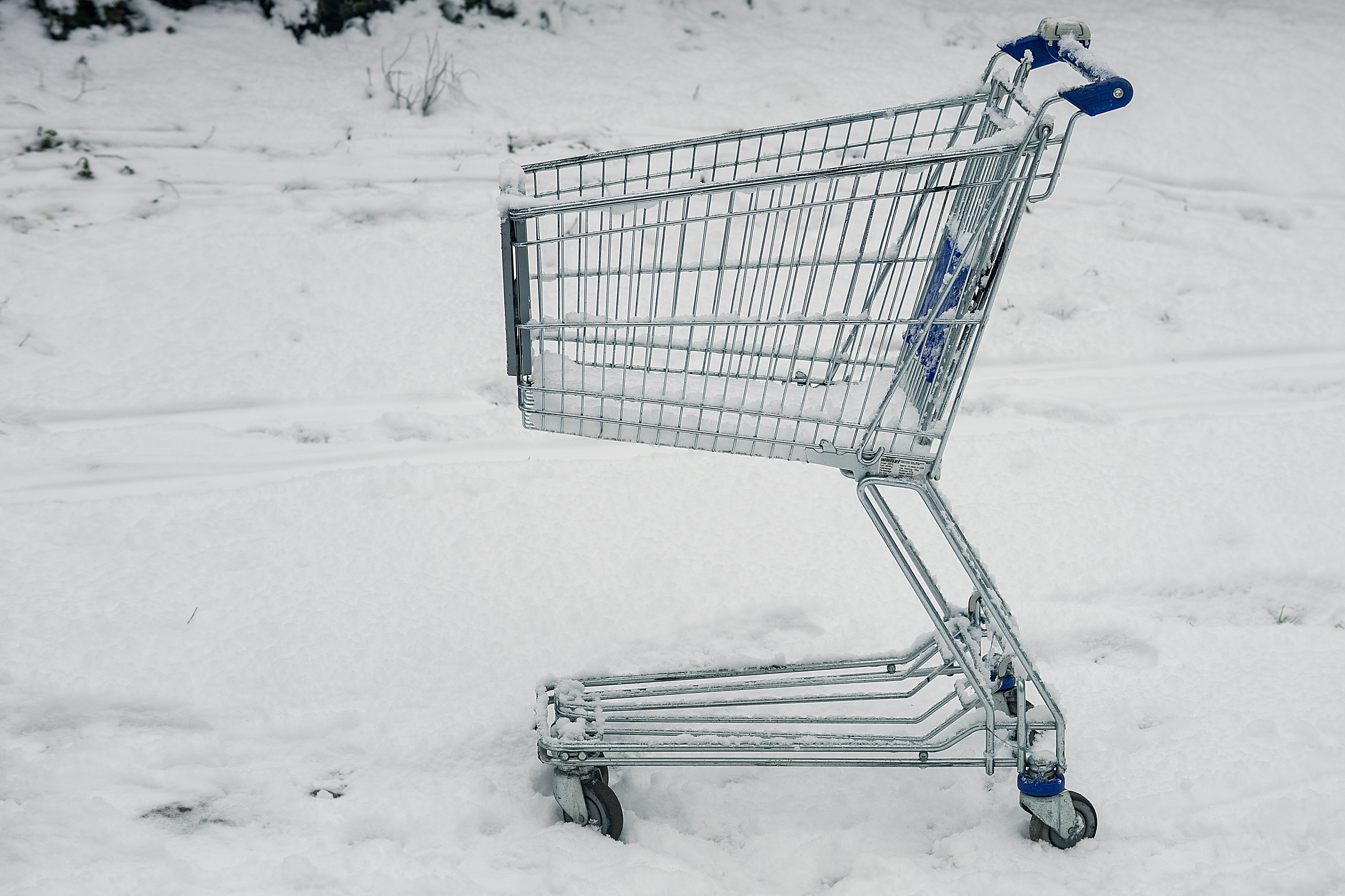 Gray Shopping Cart on Snowy Ground