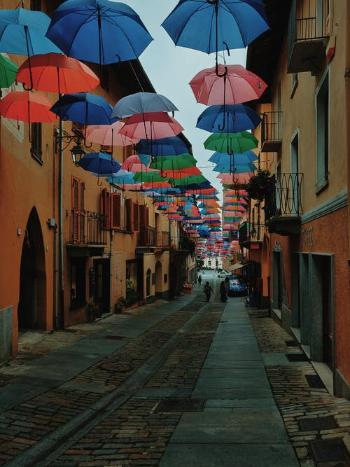 Street Covered With Umbrellas