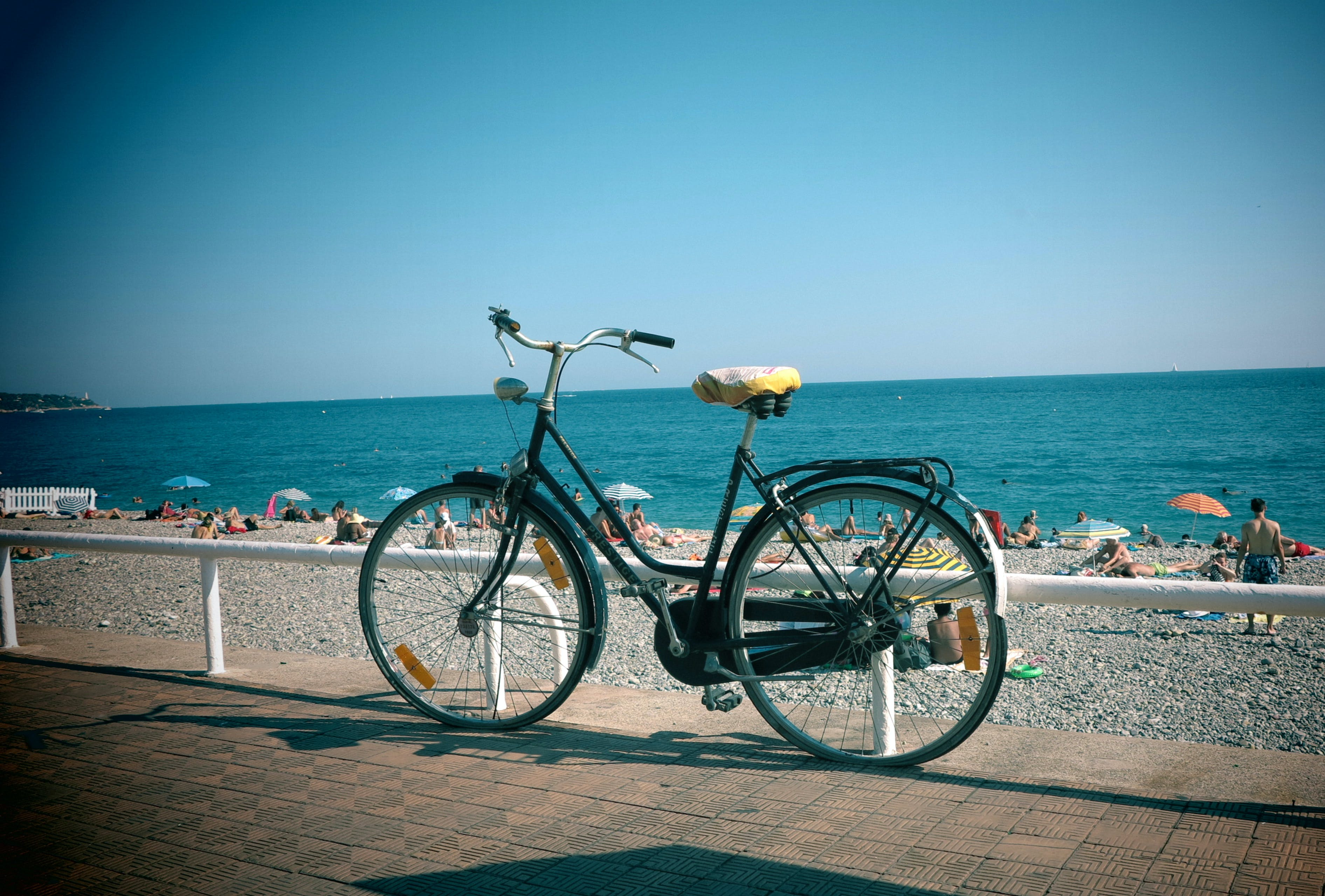 Free stock photo of beach, bicycle, french riviera, nice