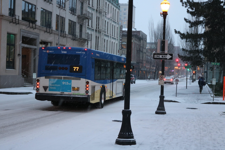 Free stock photo of snow, winter, evening, public transportation
