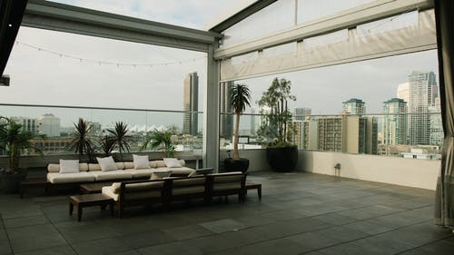 Sofa and Dining Set on a Rooftop