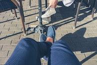 bench, city, road