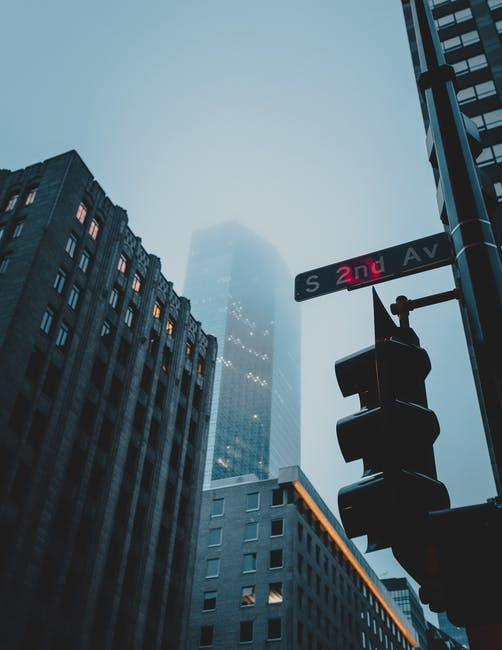 S 2nd av street sign on top of traffic light