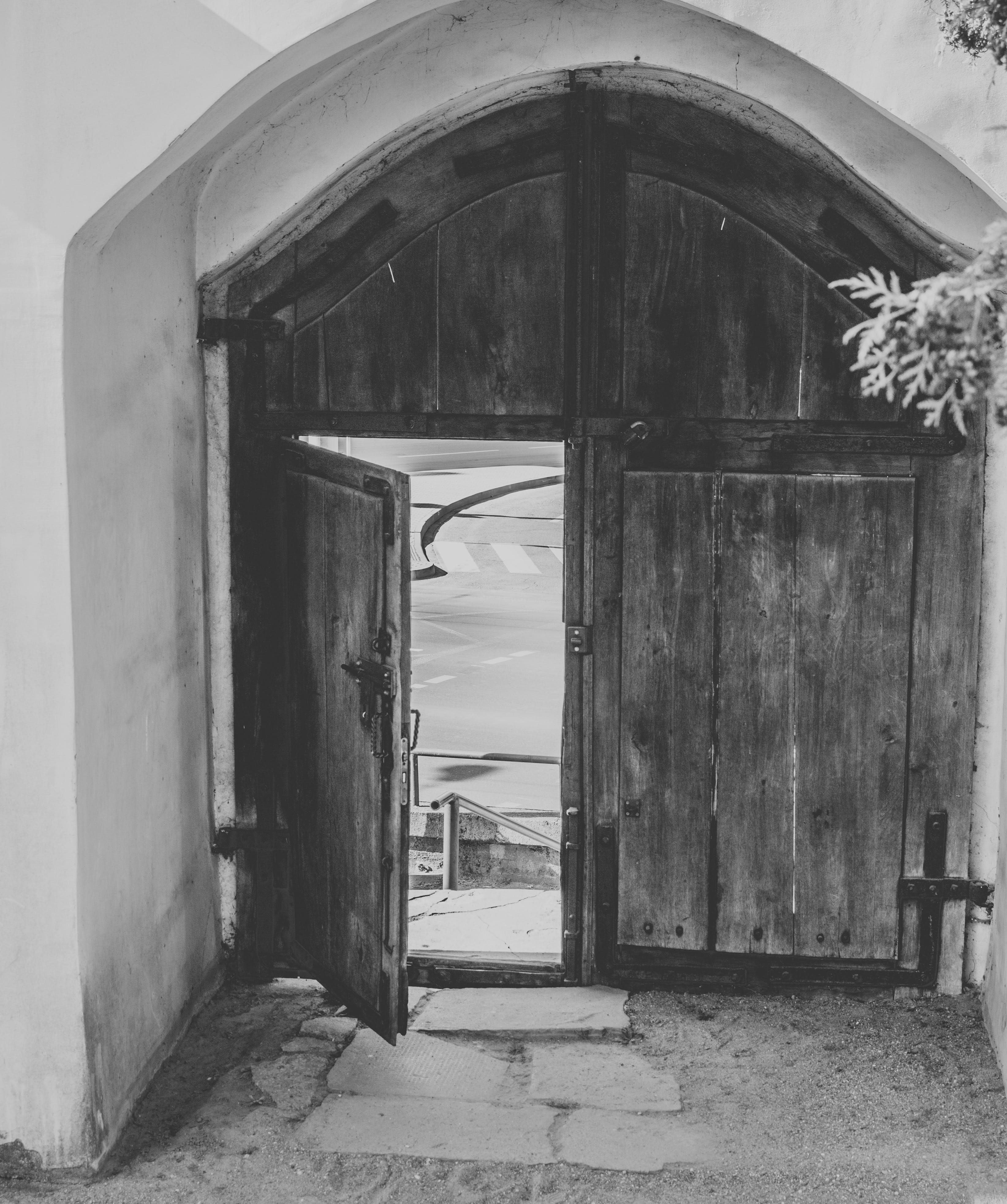 Open Brown Wooden Door