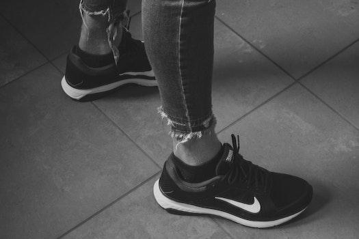 Free stock photo of black-and-white, fashion, woman, feet