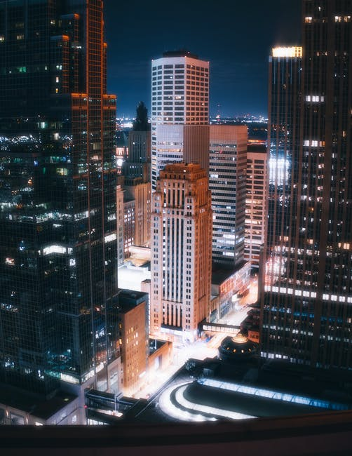 Lighted high rise buildings