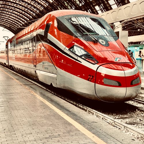 Red And Grey Bullet Train