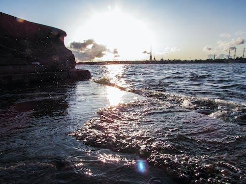 Free stock photo of city, river, shore, sky