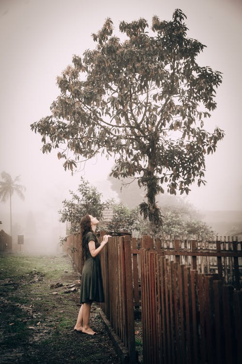 Photo Of Woman Standing In Front Of Wooden Fence