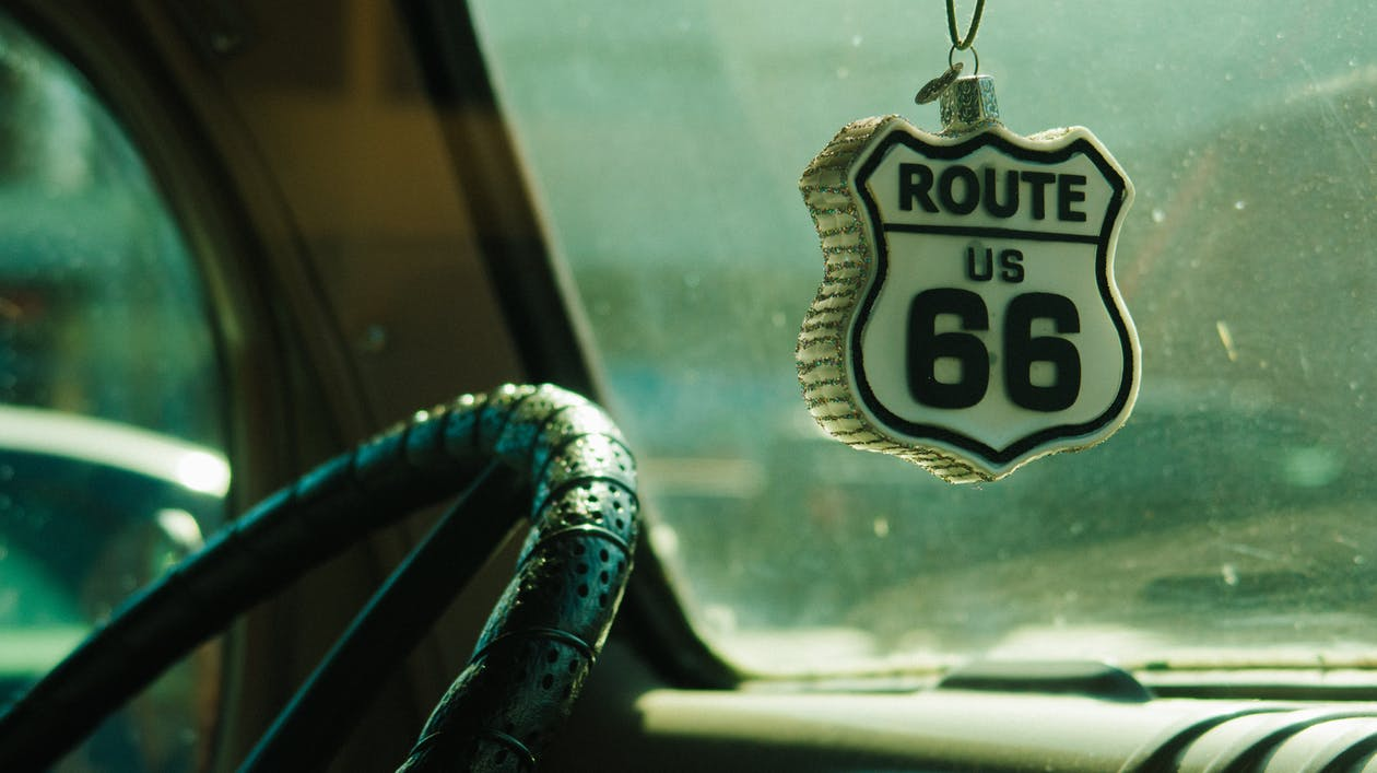 White and Black Route 66 Hanging Decor