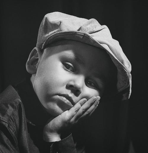 Black and White Photo of a Boy