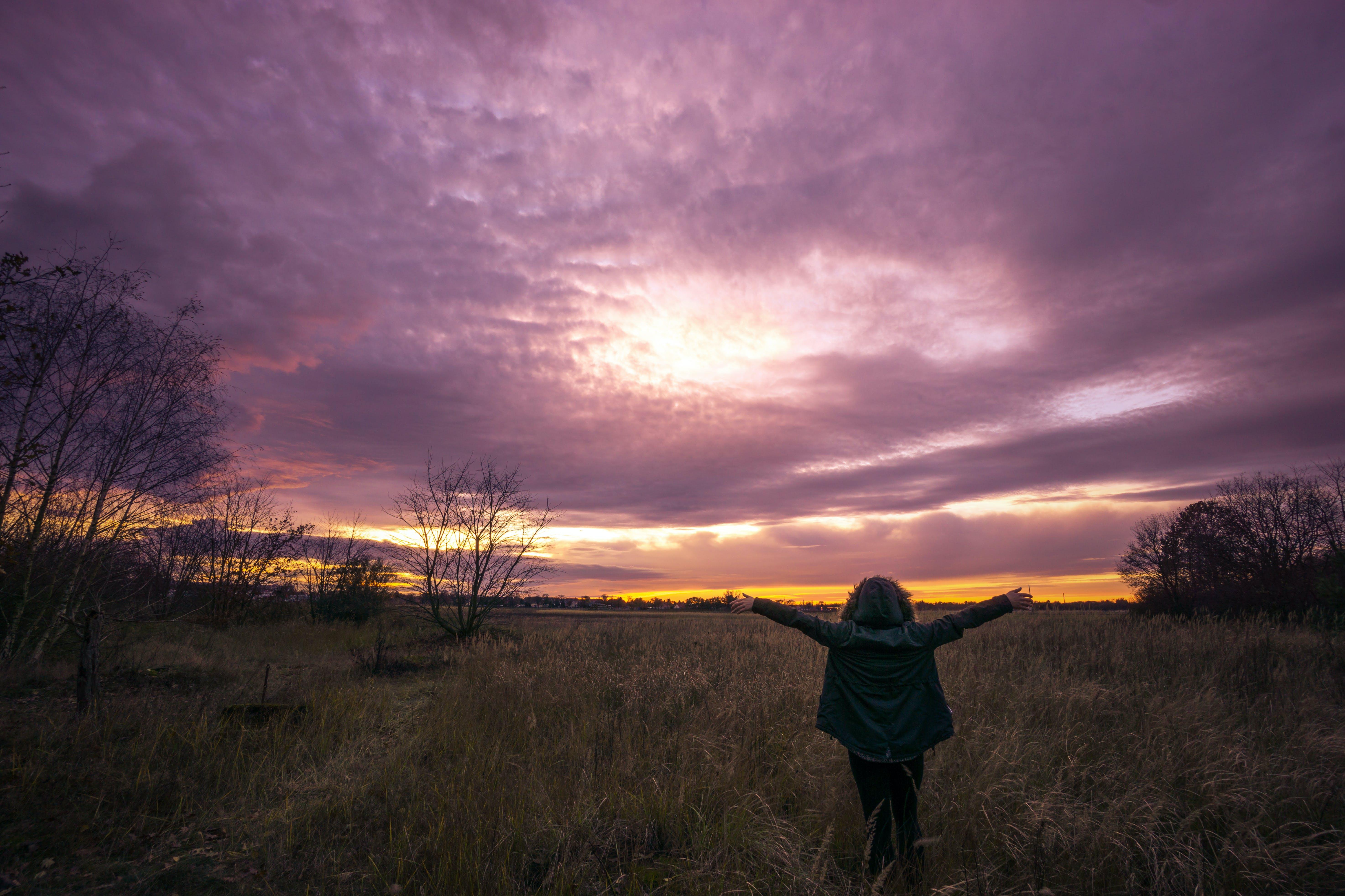 Girl Walking on Field Under Golden Hour