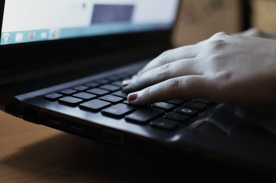 computer, hand, laptop