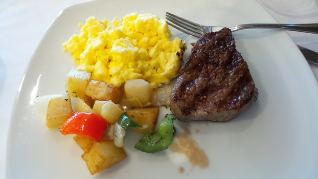 Free stock photo of brunch, breakfast, scrambled eggs, steak and eggs