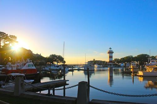 Photos gratuites de amérique, baie, bateaux, coucher de soleil