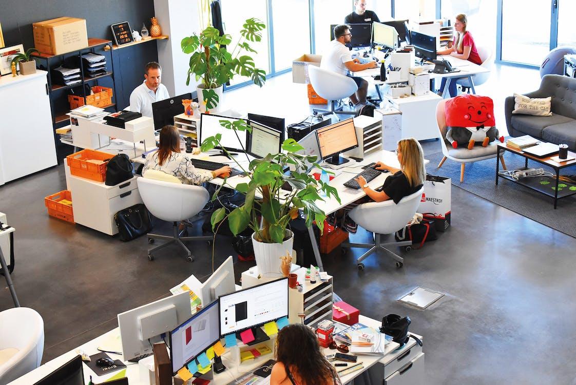 Frau Im Schwarzen Hemd, Das Auf Stuhl Vor Computer Sitzt