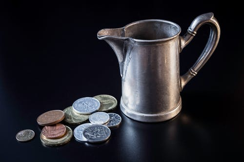 Free stock photo of coins, jug