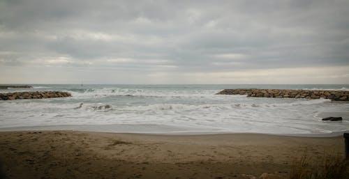 Gratis lagerfoto af efterår, grå, hav, sand