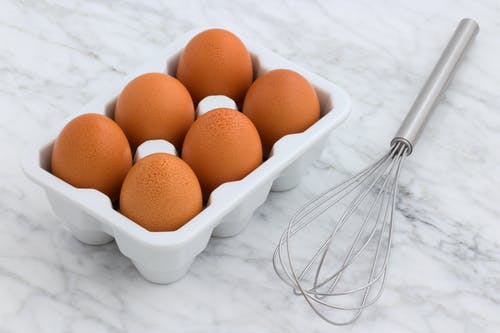 Six Organic Eggs and Whisk