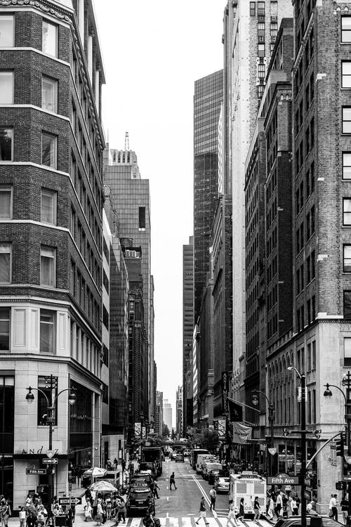 Free stock photo of black and white, buildings, busy street
