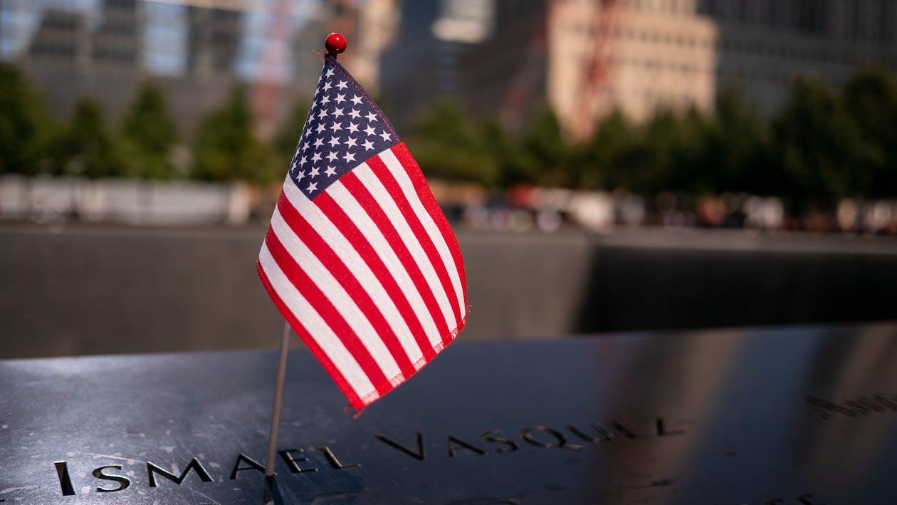 American Flag on 9/11 Memorial