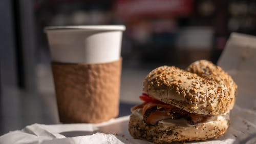 Free stock photo of bagel, Bagel and Coffee