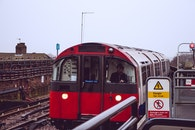 red, train, public transportation