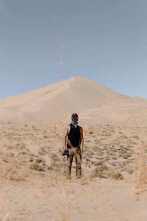 Man Standing on Desert