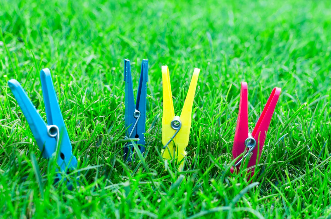 Two Blue One Yellow and One Pink Clothes Clips on Green Grass