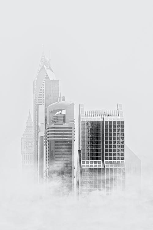 arquitectura, blanc i negre, boira