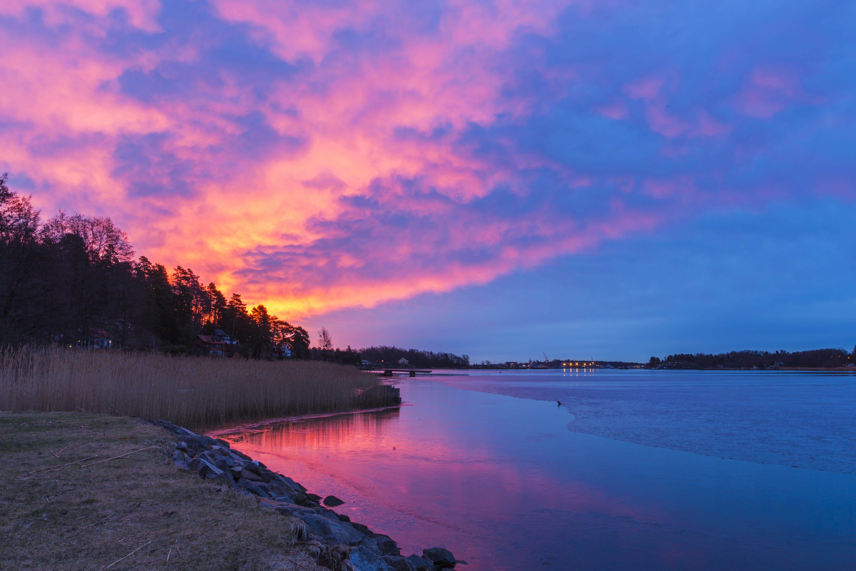 Free stock photo of blue water, skies, sunrise
