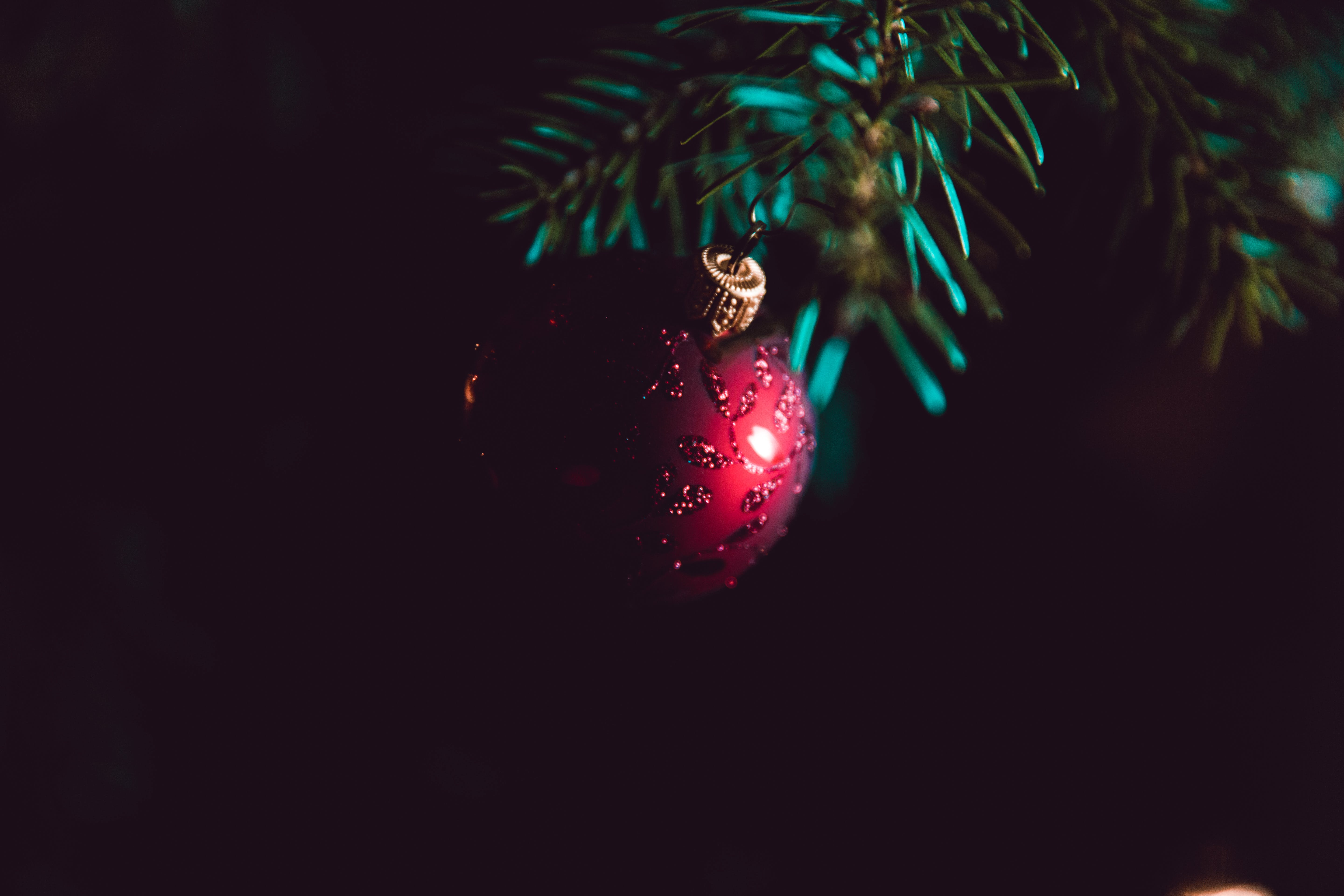 Red Bauble on Christmas Tree