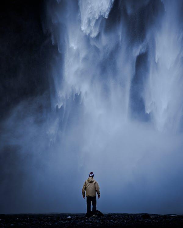 aventure, brume, cascade