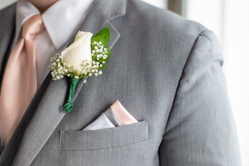 White Rose On A Suit
