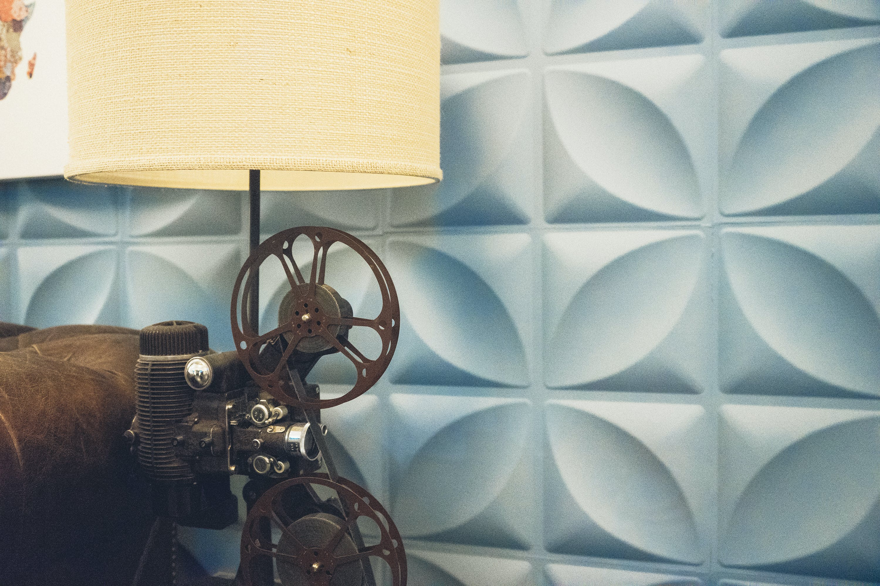 Beige and Brown Reel-to-reel Table Lamp