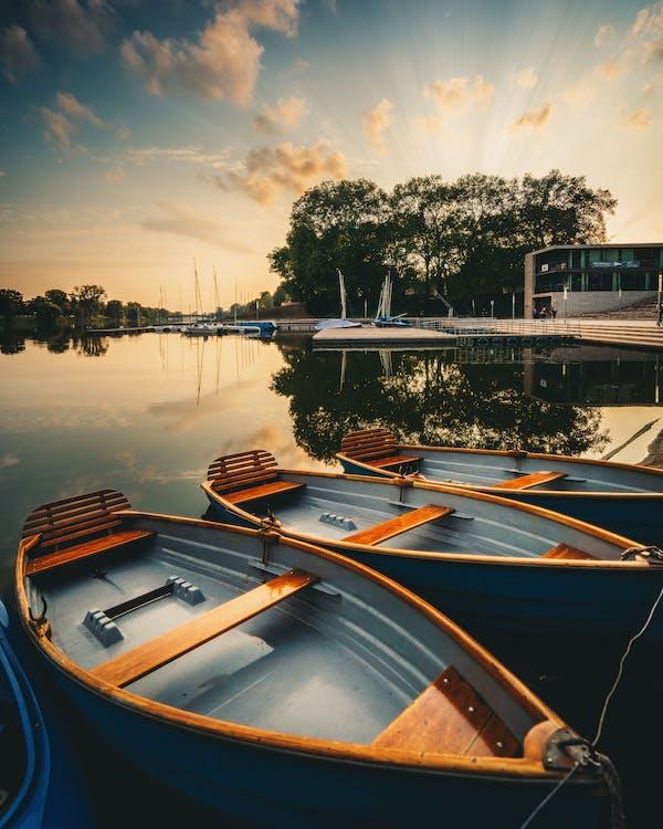 aigua, alba, barca de rems