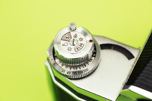 Silver and Green Chronograph Watch