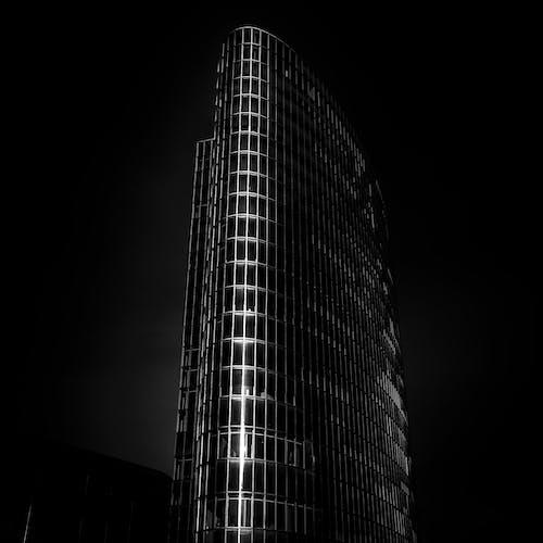 건물 외장, 건축, 로우앵글 샷, 블랙 앤 화이트의 무료 스톡 사진