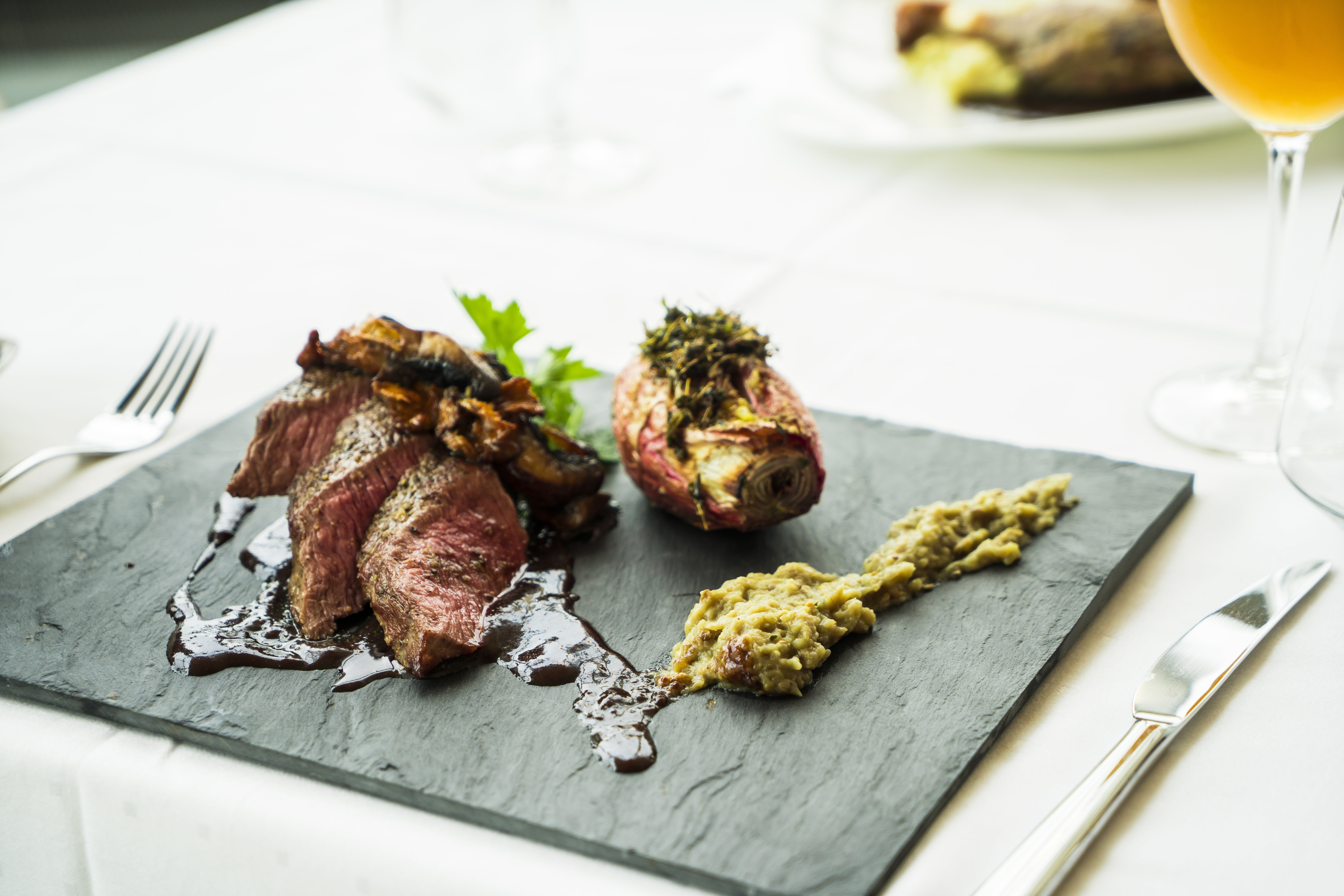 Grilled Meat on Rectangular Green Board