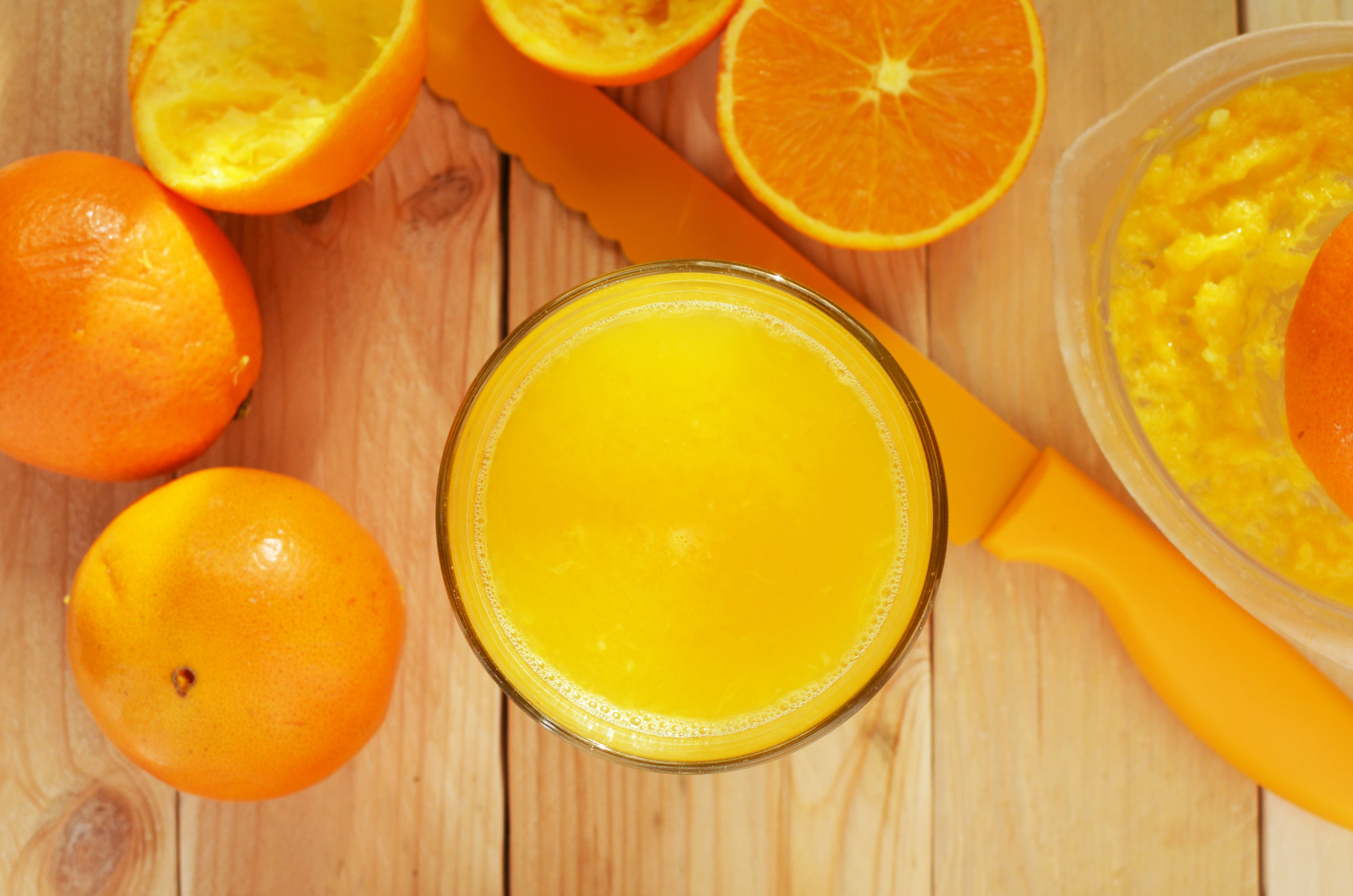 Orange Juice in Clear Drinking Glass