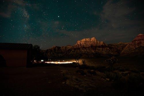 คลังภาพถ่ายฟรี ของ การเปิดรับแสงนาน, กาแล็กซี, ดวงดาว, ท้องฟ้า