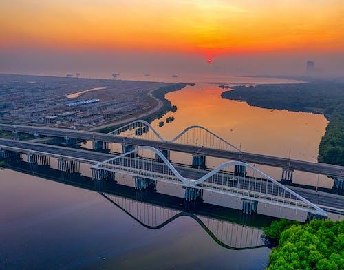 Бесплатное стоковое фото с архитектура, Аэрофотосъемка, вода, горизонт
