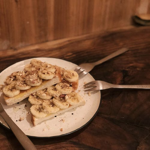 Free stock photo of afternoon tea, banana, bread
