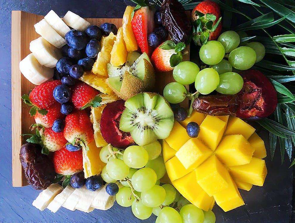 bananas, blueberries, dates