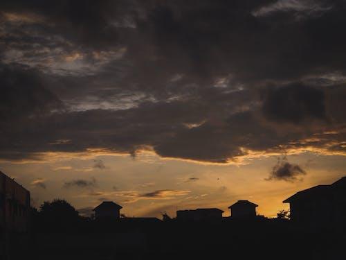 Free stock photo of Beautiful sunset, clouds, moody, yellow sky