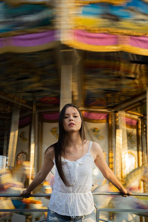 Photo Of Woman On Carousel