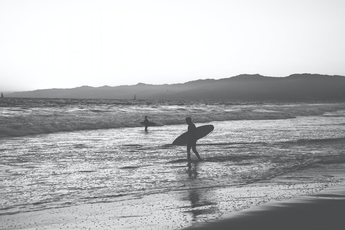 Silhouette of Person Carrying Surfboard on Seashore