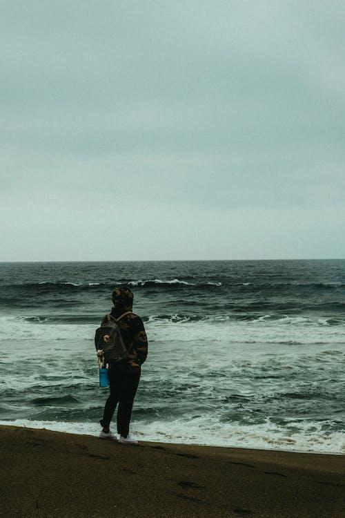ensam, ensamhet, hav