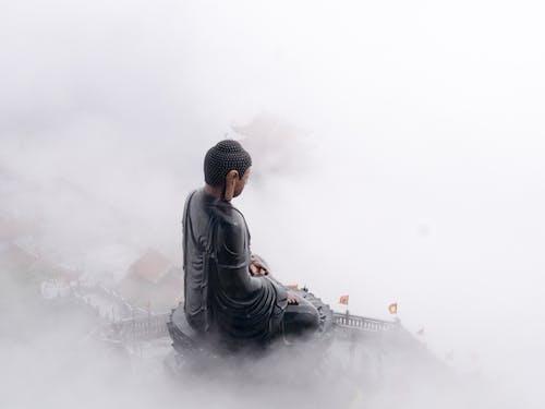 Kostenloses Stock Foto zu berg, buddha, dunst, statue